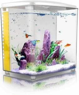 FREESEA 1.4 Gallon Betta Aquarium Fish Tank with LED Light a