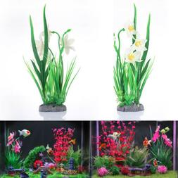 1 x Aquarium Landscape Artificial Water Plants Daffodils Flo