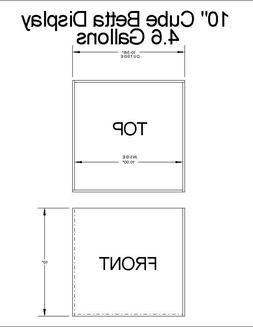 "10"" Cube All Glass Handmade Betta Tank 4.6Gallon Capacity"