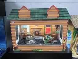 10 Gallon Aquarium Tank Cover Log Cabin Pet House Kid Decor