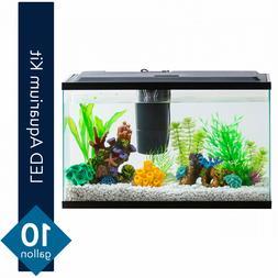 10 Gallon Fish Tank Aquarium Starter Kit Led Lighting W/ Tet