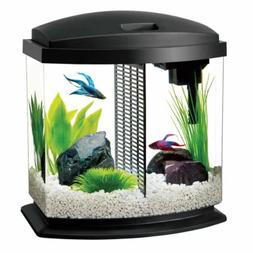 Aqueon 2.5 Gallon BettaBow LED Desktop Fish Aquarium Kit, Bl