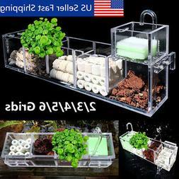 2-6 Grids Acrylic Aquarium Fish Tank External Hang On Filter