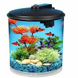 2 Gallon Fish Tank Small Compact With Filter Aquarium Round