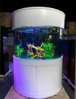 Aqua Vim 220 gallon half moon fish tank aquarium, White
