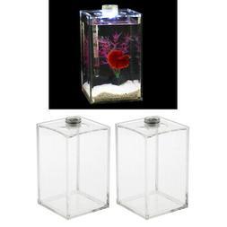 2x Clear Acrylic Fish Tank Tropical Sea Aquatic Rumble Betta