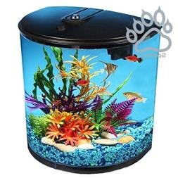 3.5-Gallon Fish Tank with Power Filter and LED Lighting, Bui