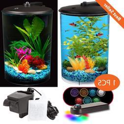 3-Gallon AquaView 360 View Aquarium Fish Tank with Power Fil