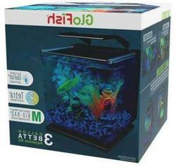 Glofish 3 Gallon Betta Fish Tank Aquarium Kit Round Corner G