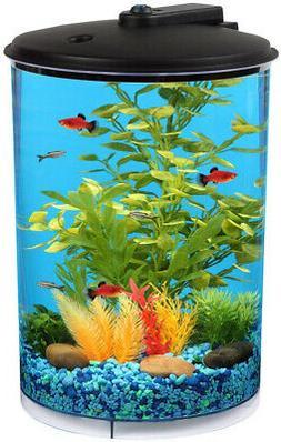 3 Gallon Round AquaView Aquarium Fish Tank Power Filter LED