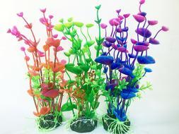 3 Pcs Color Aquarium Plastic Plants Ornament Fish Tank Artif