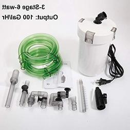 LVR Supply 3-Stage 6W External Canister Aquarium Filter for