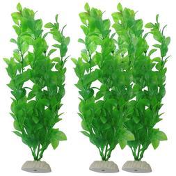 3pcs Artificial Aquarium Fish Tank Green Plastic Plant Decor