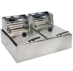 5000W 12L Dual Tanks Electric Deep Fryer Commercial Tabletop