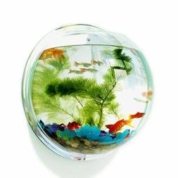 Acrylic Fish Bowl Wall Hanging Aquarium Tank Aquatic Pet Sup