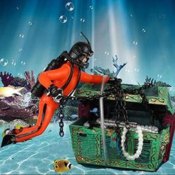 Bestgle Creative Aquarium Ornament Treasure Seeker Hunter Di