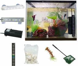 All in One Aquarium Kit Fish Tank 3.5 Gallon White Glass wit