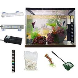 All in One Aquarium Kit Fish Tank White Glass Filter Pump LE