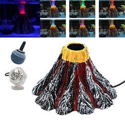 Aquarium Decorations, Aquarium Volcano Ornament Kit with Col