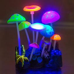 Govine Aquarium Decorations,Glowing Artificial Mushroom, Pla