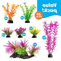 Aquarium Decorations 23 Pack Lifelike Plastic Decor Fish Tan