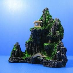 Aquarium Decorations Mountain View Tree - Fish Tank Rock Cav