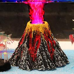 aquarium decorations volcano air bubbler red led