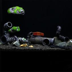 Aquarium Fish Tank Ornament Hiding Pipe Parts Cave Shelter L