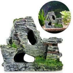 Aquarium Fish Tank Ornament Rockery Hiding Cave Landscape Un