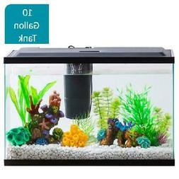 10 Gallon Aquarium Kit Set Fish Tank Led Light Hood Filter C