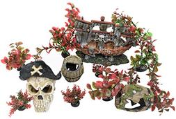 ByTheBay Aquarium Pirate Decoration Ornaments for Fish Tanks