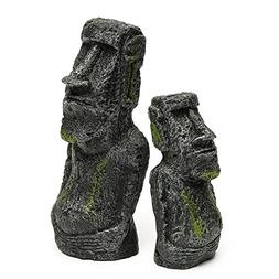Karen Low 2 Pcs Aquarium Resin Easter Island Statues Set Fis