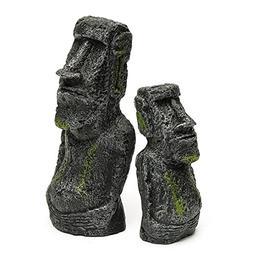 Karen Low 2 Pcs Aquarium Resin Easter Island Statues Set Fis