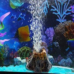 Vktech Aquarium Resin Volcano Shape and Air Bubble Stone Oxy