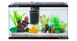 Aquarium Starter Kit 10-Gallon Fish Tank LED Light Hood Filt