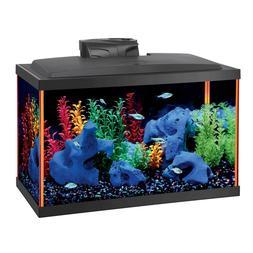 Small 7.5Gal Aquarium Kit Acrylic Contoured Fish Tank LED Li