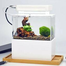 Aquarium Starter Kit Fish Tank 0.2Gal Led Light Fish Bowl Ho