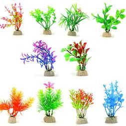 COMSUN 10 Pack Artificial Aquarium Plants, Small Size 4 to 4