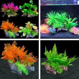 Artificial Plastic Plants Aquarium Decor + Base Water Grass