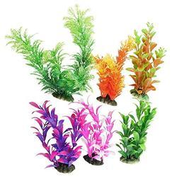 CNZ® 6 Pcs Assorted Color Aquarium Plastic Plant Decoration
