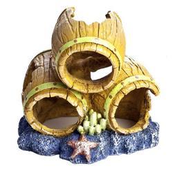 GloFish Barrels Ornament for Aquarium Environment, Small