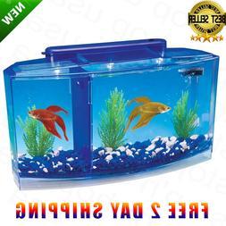 Betta Fish Aquarium Tank With Divider Filter Small Penn Plax