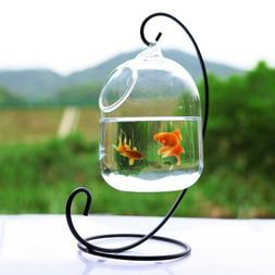 Clear Hanging Glass Aquarium Fish Bowl Fish Tank Flower Plan