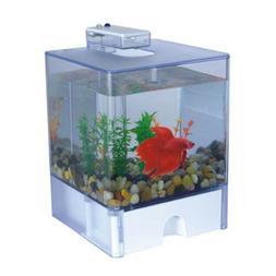 Desktop Deco 3L Aquarium Fish Tank Betta Cube Bowl w/USB LED