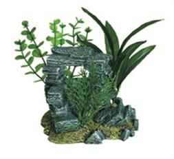 Exotic Environments Rock Arch with Plants Aquarium Ornament,