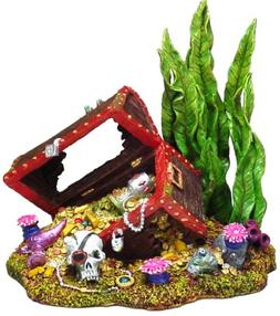 Exotic Environments Sunken Treasure Chest Aquarium Ornament,