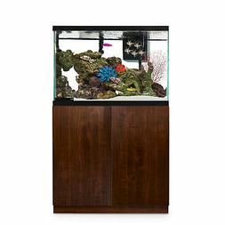 faux woodgrain fish tank stand up to