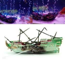 Fish Tank Decor Aquarium Large Broken Boat Shape Separated S