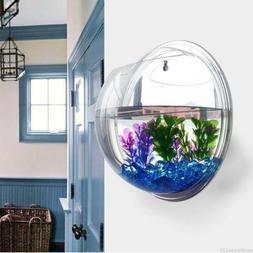Wall-Mount Fish Bowl Acrylic Aquarium Tank Beta Goldfish Han