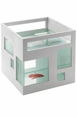 FishHotel Unique Glass 2 Gallon Mini Fish Aquarium Tank Bowl